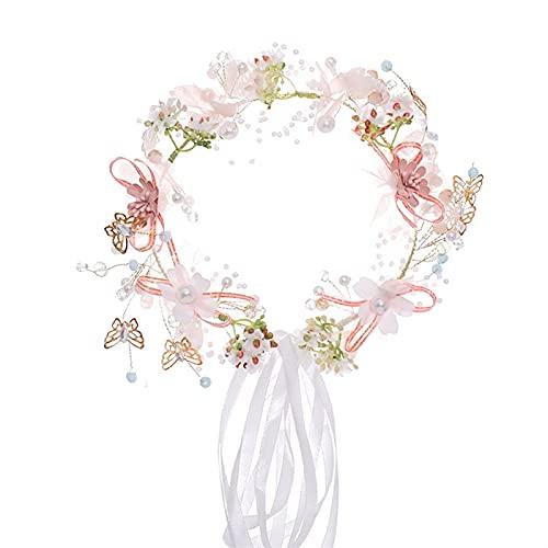 Donne romantiche Fascia Dolce Farfalla Flower Fiao Fiao Corona Fata Hairband Partito Partito Partito Bridal Accessori per Gioielli da Sposa (Metal Color : As Show)