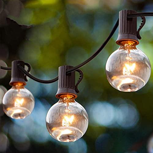 Qxmcov Guirnaldas luminosas de exterior, Cadena de Luz G40 Impermeable con 9.5M 25+4 Bombillas Incandescentes Perfecto para Jardín Patio Trasero Fiesta Navidad-Blanco Guirnalda de Luces de Burbujas