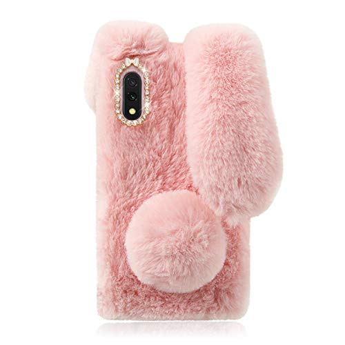 Pink Bunny Plush Phone Case for Samsung Galaxy A01, Cozy Soft Fluffy Fur Case 3D Cartoon Doll Animal Protective Case Cute Girls Women Furry Plush Cover for Samsung Galaxy A01