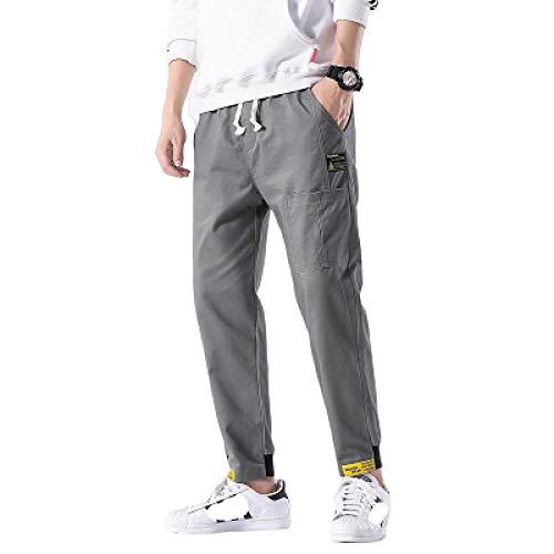 Huntrly Pantalones de Hombre Primavera y otoño Pantalones Casuales recortados Algodón Joker Moda Pantalones Largos Deporte Casual Pantalones elásticos con cordón M