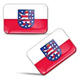 Biomar Labs® 2 x Aufkleber 3D Gel Silikon Stickers Thüringen Flagge Bundesland Flag Fahne Auto Motorrad Fahrrad Fenster Tür PC Handy Tablet Laptop F 98