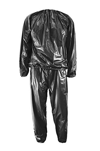 Saunaanzug - TOOGOO(R)Heavy Duty Fitness Gewicht Verlust Anzuege PVC Sauna Anzug Fitness Studio Schwarz L-Code