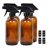 Y-POWER Paquete de 4 botellas de vidrio ámbar vacías, contenedor recargable de 16 onzas para aceites esenciales, productos de limpieza o aromaterapia