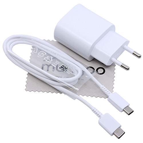Cargador original Samsung EP-TA800 25W para Samsung Galaxy S20 S20 Plus A70 A70s A71 A80 A90 Note 20 (Lite/Ultra) Power Delivery Fast Charge Cable de carga con paño de limpieza de pantalla Mungoo