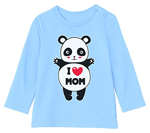 Green Turtle Fête des Mères - Panda I Love U Mom T-Shirt Bébé Unisex Manches Longues 12-18M 76/89cm Bleu Ciel