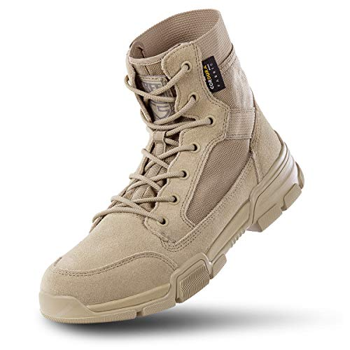 FREE SOLDIER Men's 6 Inch Ankle Boots Military Tactical Duty Work Boots Super Lightweight Breathable Desert Boots for Hiking Combat Boots (Tan,11.5)