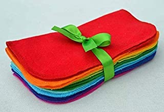 Washable Flannel Napkins 8x8 1 Ply Rainbow 10 Pack