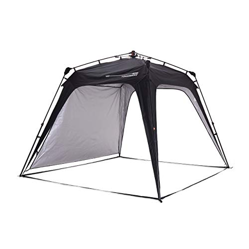 Lumaland Where Tomorrow Pop Up Gazebo with 1x Sidewall - Large Event Pavilion - Festival Party Tent - Standing Height 1.9 m - Waterproof Gazebo with UV+50 Protection - Black