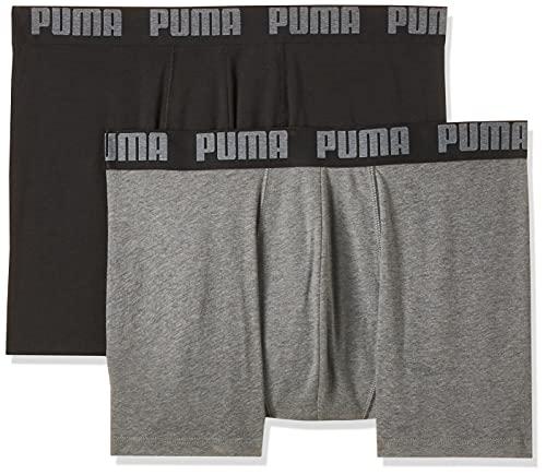 Puma Herren Boxershorts 2er Pack, Dark Grey Melange/Black, S