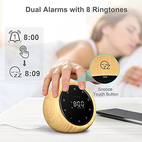 YTE White Noise Machine with Alarm Clock, 20 High Fidelity Soothing Sounds, Full Touch Control, Timer and Memory Function, Sleep Sound Machine for Baby, Adults, Home and Office