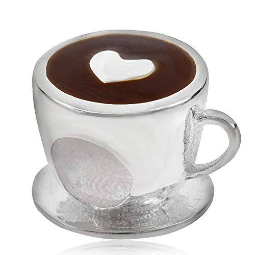 Breloque/charm en argent sterling 925 motif tasse de café avec cœur pour bracelet à charm de type Pandora b