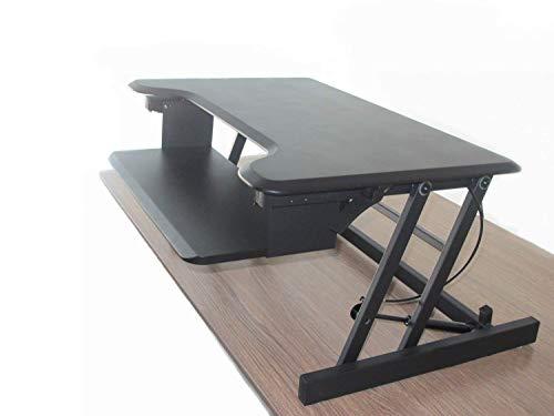 ERGONEER Gesunde Sit-Stand Workstation Desktop Computer | Höhenverstellbare Stehpult | Heben und Senken Table Top in Verschiedene Positionen für Ergonomic Comfort (schwarz)