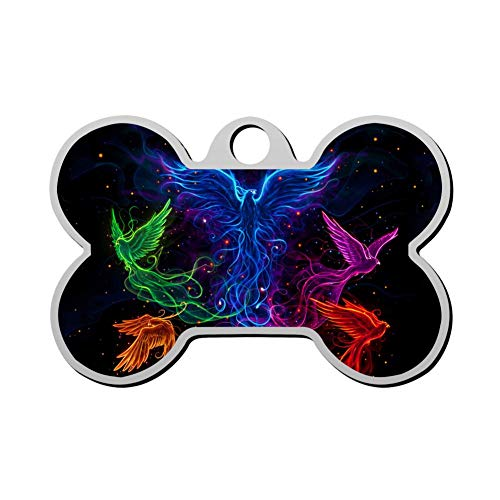 HOJEY Custom Five Color Neon Phoenix Flying Pet ID Tag Bone Shape Personalized Dog Tags & Cat Tags Identity Collar Tags