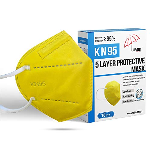 5 Layer Disposable Face Mask (YELLOW 10 Masks) Comfortable Breathable Respirator | Individually Wrapped Respirators Filtering Efficiency95% Protection against Dust, Pollen, PM 2.5, Haze Proof Facemask