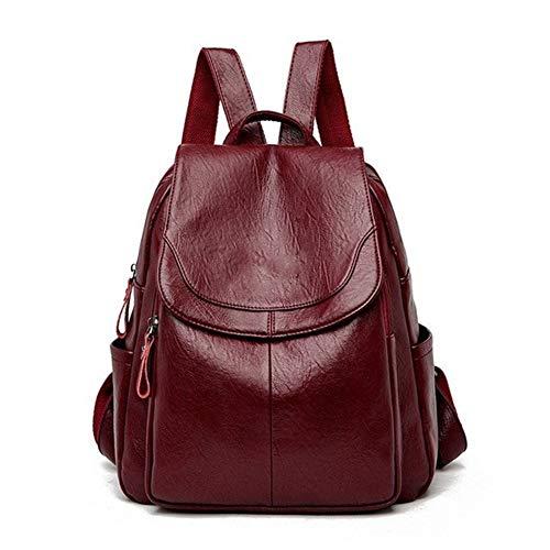 Ai-yixi Mochila de cuero para mujer, diseño clásico, para mujer, bolsa de hombro, para adolescentes, perfecto salvaje (color rojo vino, tamaño: XL)