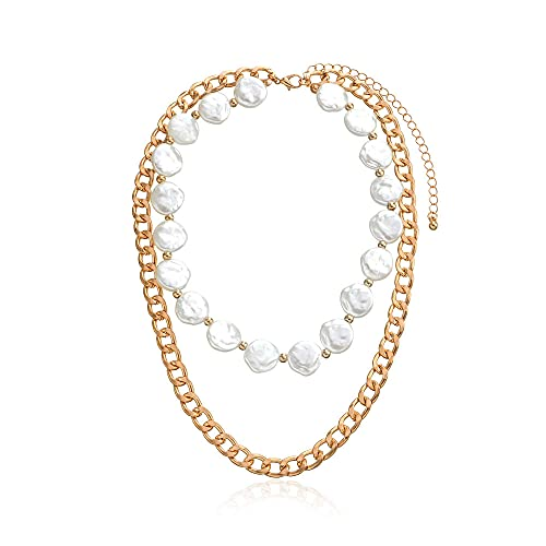 Colgante Tendencia de moda Aleación Cadena gruesa Multicapa Geométrica Torta redonda Collar de perlas Temperamento Accesorios