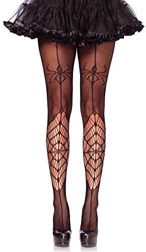 Leg Avenue Damen Netz Strumpfhose mit Spinnennetz und Spinne schwarz Einheitsgröße ca. 36 bis 40