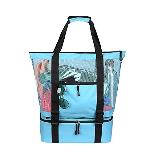 Yuvera Bolsa de playa de malla 2 en 1 de gran tamaño, ligera, de malla, para playa, almacenamiento de verano, para la familia, piscina, playa, compras