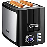 IKICH Toaster 2 Slice, LCD Screen Stainless Steel Toaster, Wide Slot 2 Slice Toaster, 9 Settings Toasters, Cancel/Bagel/Defrost/Reheat, Crumb Tray