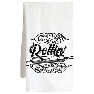 Live Nice V2 THEY SEE ME ROLLIN - funny joke sarcastic - Farm Flour Sack Kitchen Tea Towel