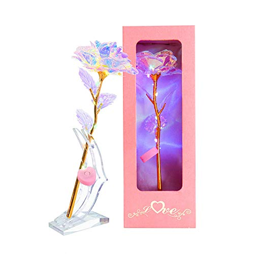 24K Gold Rose Gifts LED Light String on Galaxy Rose Colorful Rose Flower with Stand Luxury Gift Box Best Gift for Women Mothers Day Birthday Christmas Anniversary Valentine's Day