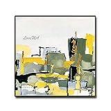 ZNYB Cuadros Decoracion Baratos Pintura al óleo Abstracta 100% diseño Pintado a Mano Arte Moderno Cuadro de Pared Amarillo Lienzo Pinturas Arte para Sala de Estar en casa