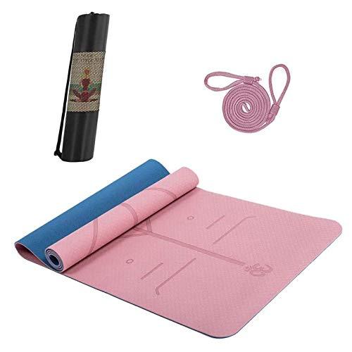 Hatonky Esterilla Yoga Antideslizante Alfombrilla de Yoga TPE Esterilla Pilates Esterilla Deporte- con Correa de Hombro y Bolsa 183cm x 61cm x 0.6cm