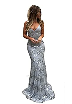 Silver Mermaid Prom Dresses V-Neck Open Back Long with Train Satin Sequin Formal Evening Gown for Women