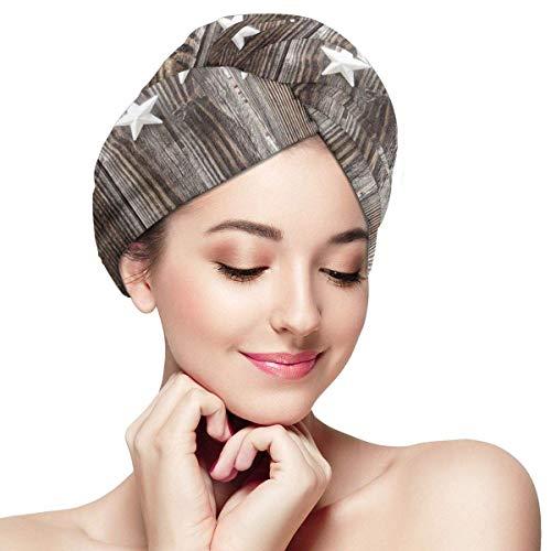 N/A Serviette à Cheveux Envelopper Turban Microfibre Séchage Rapide Bonnet de Bain de Couleur Argent Orné Étoiles Sur Bois Rustique Clôture Cabine Imprimé