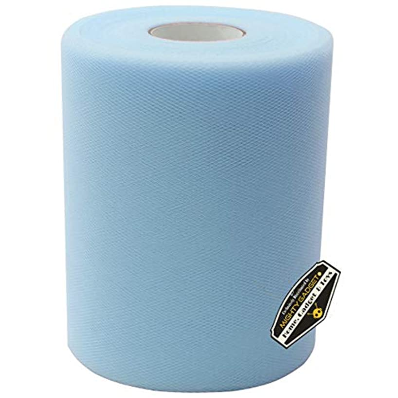 Mighty Gadget Brand Large Tulle Fabric Spool 6 inch x 100 Yards (300 feet) for Wedding and Decoration (Light Blue)