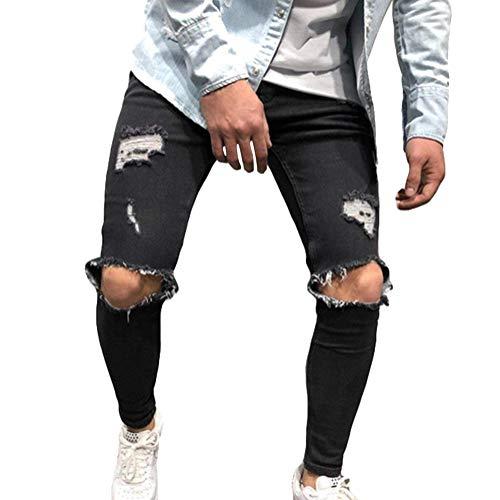 Tomwell Herren Jeans Hose Mode Casual Destroyed Slim Fit Skinny Denim Strech Jeans Männer Zerrissen Denim Freizeithosen Schwarz M