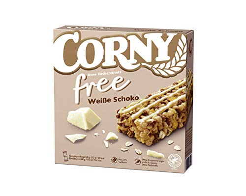Corny free Weiße Schoko, Müsliriegel OHNE Zuckerzusatz, 10er Pack (10 Schachteln mit je 6 Riegeln)