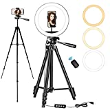 10' LED Selfie Ring Light with Tripod Stand and Phone Holder, Sumcoo Dimmable Beauty Ringlight for Live Stream/Makeup/YouTube Video, Compatible with iPhone, Android Phone & Cameras