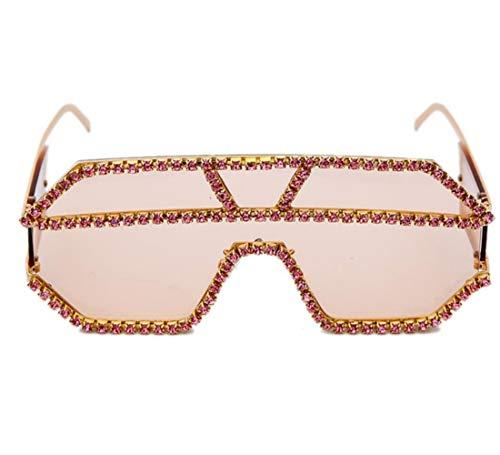 UKKO Gafas de sol Rhinestone Gafas De Sol Maxi Square Mujeres Uv400 Gafas De Sol De Sol Hombre,B