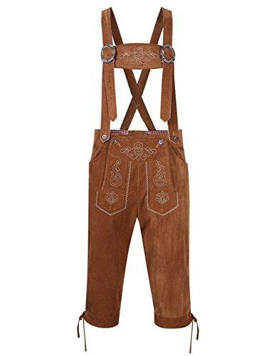 Zantec Oktoberfest Costume Uomo, Pantaloni Uomo Oktoberfest Vintage Eleganti Tradizionali Bavaresi con Giarrettiere, Colore: Cachi, Dimensione: 50