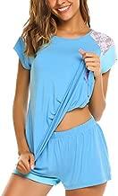 Avidlove T Shirt Pajama Set for Women Lake Pajamas Short Sleeve Pjs for Women Comfy Sleepwear 2 Piece Pajamas Set(M,Blue)