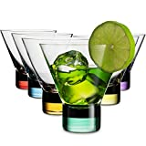 MITBAK 8 - Ounce Martini Glasses (Set of 6) With Stylish Colorful Bases | Elegant cocktail Cups | Great for Martini, Whiskey, Margarita, Other Alcoholic Beverages | Bar Glasses Made In Slovakia