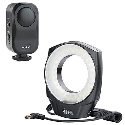 Godox 48 Marco LED Anillo de luz con 6 Anillos adaptadores (49 mm, 52 mm, 55 mm, 58 mm, 62 mm o 67 mm) para Macro Canon/Nikon/Sony/Sigma/Tamron Lente con difusor NAMVO