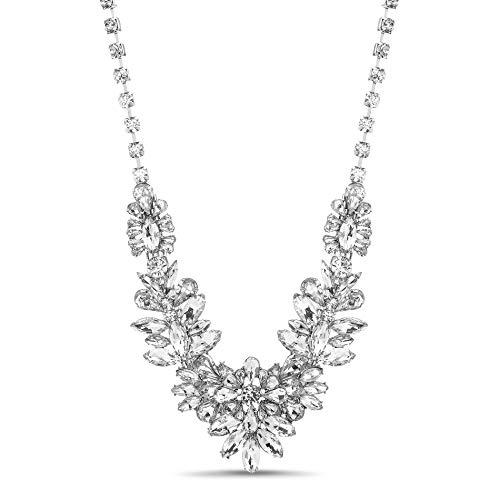 Steve Madden Silver-Tone Flower Cluster Design Bib Statement Rhinestone Necklace for Women Crystal Bib Statement Necklace