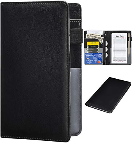 Server Books for Waitress - R64 Leather Waiter Book Server Wallet with Zipper Pocket, Cute Waitress Book&Waitstaff Organizer with Money Pocket Fit Server Apron(Classic Black)