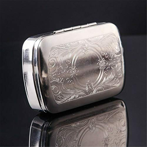 N / A Metall Zigarettenetui, Tabak Rolling Aufbewahrungsbehälter Box Metall Automatic Cigarette Smoking Case Tabakbox (Color : Silver, Size : 86x58x26mm)