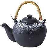 JeeKoudy Tetera de cerámica Tetera de Porcelana Tetera Cafetera Olla de Agua Mango de Madera Vintage para Fiesta de té Serie de té Alto Tinta Nieve