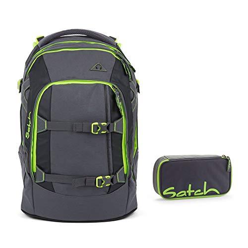 Satch by Ergobag Schulrucksack-Set 2-tlg Phantom 802 grün grau