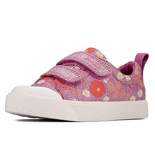Clarks City Bright T Mädchen-Schuhe aus Segeltuch, mit Blumenmuster, Pink