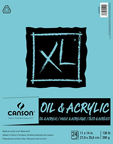 Canson XL Series Oil and Acrylic Paper Pad, Bleed Proof Canvas Like Texture, Fold Over, 136 pound, 11 x 14 Inch, White, 24 Sheets