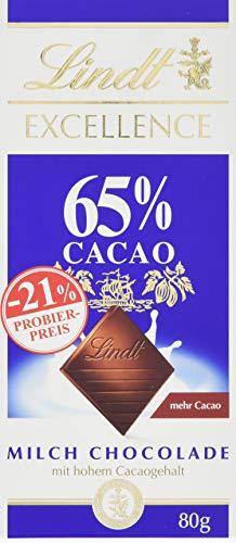 Lindt & Sprüngli Excellence Tafel 65% Promotion, Milch-Chocolade mit hohem Cacao-Anteil, 65% Kakaoanteil, glutenfrei, 10er Pack (10 x 80 g)