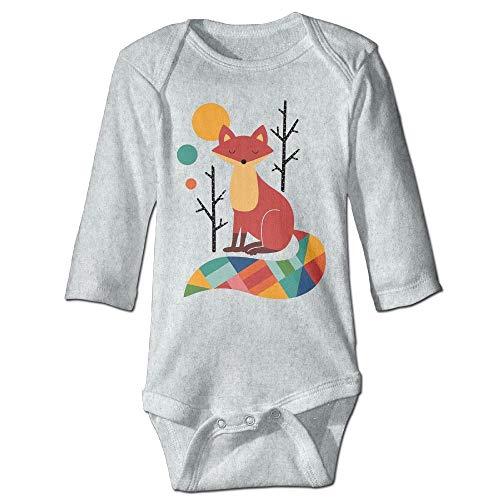 Body de manga larga para bebé con diseño de zorro colorido para niños, color ceniza