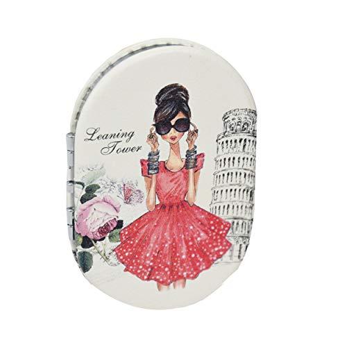 Hogar y Mas Espejo de Mano/Bolso, Portátil y Plegable. 2X 1X Doble Aumento. Diseño Mujer en Paris 6,5x9x1 cm - B