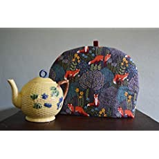 Artisanal Luxe Tea Cozy William Morris Earth Toned Swirling Leaves Print Soft Hues 4 Sizes