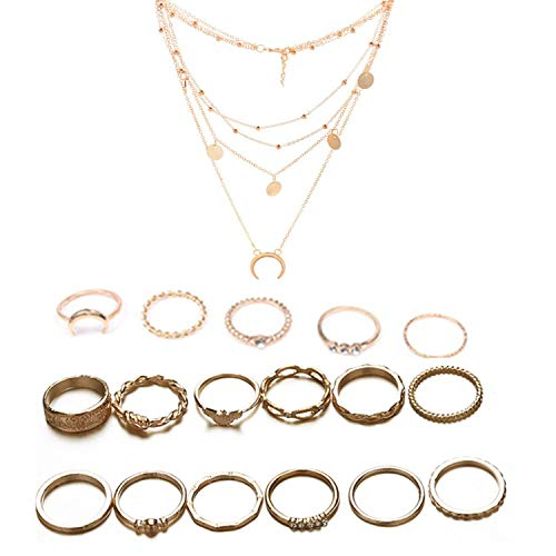17 Stück Vintage Golden Midi Ringe Fingerring-Set und Mehrschichtige Halskette für Damen Mädchen, Fashion Frauen Midi Ring Nagel Finger Band mit Aufbewahrungsbox von PPX
